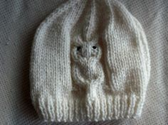 White Aran Baby Hat with Owl Pattern