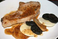 Pork chops, black pudding and apple