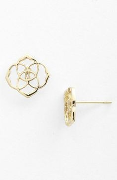 """- Kaleidoscopic cutouts form lightweight medallion studs with enchanting shine. - Approx. 1/2"""" square. - Post back. - 14k-gold plate or rhodium electroplate. - By Kendra Scott; imported."""