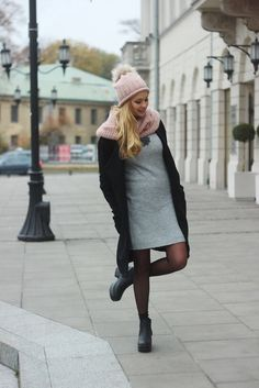 """Black & grey outfit -  As first seen on blog """"Juliette in Wonderland"""" here: Black & grey outfit  She is wearing tights similar here: Black Semi Opaque Tights Matte finish 50 denier semi-opaque stretch nylon tights create impeccably elegant legs and soft-seam toe finish.  #tights #pantyhose #hosiery #nylons #tightslover #pantyhoselover #nylonlover #legs"""
