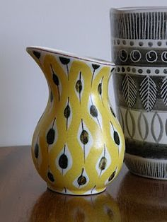 Fajans vase by Stig Lindberg for Gustavsberg c1950.  Hand painted and signed by the artist to the base. 10cm tall.