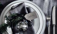 grey table linen and green spruce || Neptune.com