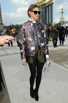 Olivia Palermo in a butterfly bomber jacket. #Streetstyle at Paris Fashion Week #PFW