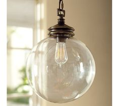 "Pottery Barn Calhoun Glass Pendant $149 12"" diameter, 16.5"" high; 12' chain A generous 12' chain allows the chandelier to be hung in grand entryways and may be professionally short..."
