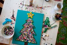 sequin and yarn christmas tree craft