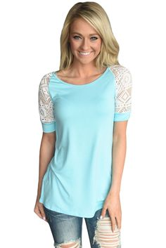 Navy Blue Lace Short Sleeved Tee Shirt