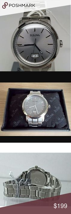 Sale, NWT Bulova grey stainless steel watch NWT Bulova Men's Gray Stainless Steel Silver-Tone Watch.    Firm price  $299.00  . AUTHENTIC BOX  . AUTHENTIC MANUAL  . AUTHENTIC WATCH    SHIPPING  PLEASE ALLOW FEW BUSINESS DAYS FOR ME TO SHIPPED IT OFF.I HAVE TO GET IT FROM MY STORE.   THANK YOU FOR YOUR UNDERSTANDING. Bulova Accessories Watches