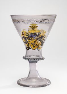 Goblet with the Arms of Liechtenberg; Unknown; Façon de Venise, Southern Bohemia (probably), Czech Republic; 1500 - 1530; Free-blown colorless (slightly pinkish-brown) glass with gold leaf and enamel decoration; 23.5 × 16.2 cm (9 1/4 × 6 3/8 in.); 84.DK.537; J. Paul Getty Museum, Los Angeles, California