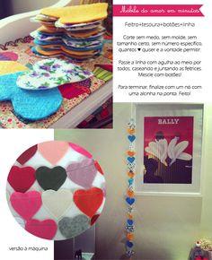 Corações de feltro para espalhar pelo lar! #DIY Diy, Kids Rugs, Ideas, Home Decor, Creative, Diy Home, Decorating Ideas, Feltro, Creativity