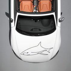 ANIMAL SHARK EVIL FISH DESIGN HOOD CAR VINYL STICKER DECALS ART MURAL SV1095