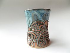 Blue Hand Carved Round LIne Tumbler by EKSPottery on Etsy