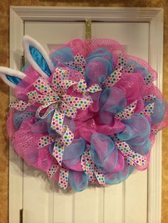 Blue and pink deco mesh Easter wreath