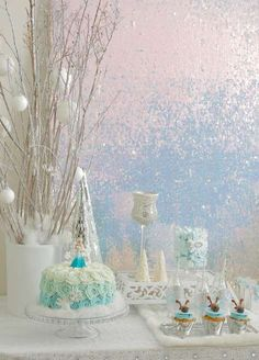 Elegant Frozen Birthday Party dessert table! See more party planning ideas at CatchMyParty.com!