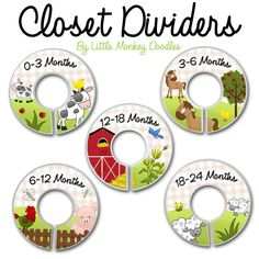 CLOSET DIVIDERS Farm Animals Bedroom Baby Nursery Art Decor. $12.00, via Etsy.