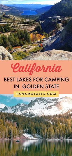 Best Lakes for Camping in California. Here are the best places to camp close to beautiful lakes in Northern, Central, and Southern California (you can fish, boat, and swim as well) | Lake Tahoe Camping | Donner Lake Camping | Clear Lake Camping | Camping in California with Kids | RV Camping in California | California Camping Spots | Dog-Friendly Camping in California | Camping Destinations in California | Family Camping in California | Places to Go Camping in California | June Lake Camping