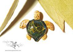Mini Jungle Turtle - Glass Art Pendant by Creative Flow Glass.