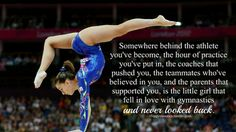 Play for her. I wouldn't do this for gymnastics but love the quote