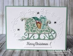 Santa's Sleigh Christmas card using Santa's Sleigh Thinlets and Presents and Pinecones DSP from the 2016 Holiday Catalogue. Card by Claire Daly, Stampin' Up! Demonstrator Melbourne Australia.
