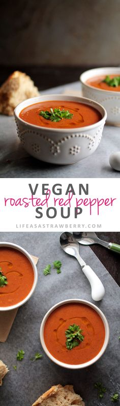 Vegan Roasted Red Pepper Soup | This easy and flavorful vegan soup recipe is creamy, filling, and simple to make. Perfect for chilly evenings! Vegan, Vegetarian.