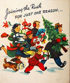 Family Shopping Rushing Around Carrying Gifts Pop-Up 50's Vintage Christmas Card
