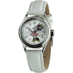 Ingersoll Disney 'Petite Minnie' White Watch ($42) ❤ liked on Polyvore featuring jewelry, watches, silver, snap jewelry, disney jewelry, crown jewelry, retro watches and stainless steel wrist watch