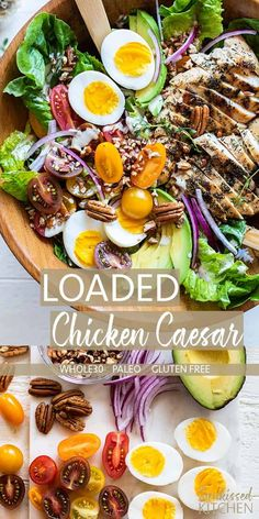 Loaded Chick Loaded Chicken Caesar Salad / A delicious combination of a creamy approved caesar dressing tossed with crunchy romaine and then topped with grilled chicken avocado tomatoes and pecans. A dream meal on the Best Salad Recipes, Salad Dressing Recipes, Paleo Recipes, Low Carb Recipes, Cooking Recipes, Clean Recipes, Lunch Recipes, Big Mac Salat, How To Cook Quinoa