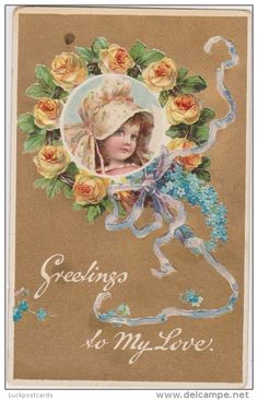 LP61    Valentine´s Day, vintage postcard,  Unsigned Artist Brundage, roses, girl, bonnet