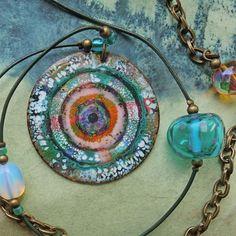 Enamel, Copper, Pendant Necklace, Jewelry, Vitreous Enamel, Jewlery, Jewerly, Schmuck, Enamels