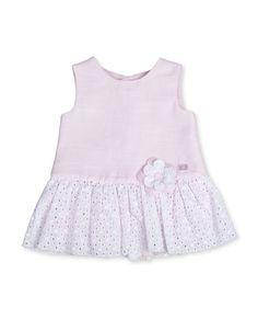 Vestido de bebé niña Tutto Piccolo con voile troquelado