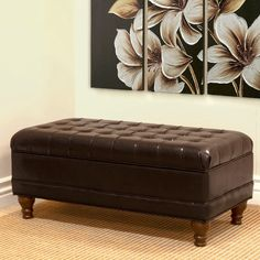 Large Faux Leather Tufted Storage Bench - Brown & Storage Cocktail Bench | Nailhead trim Bench and Espresso
