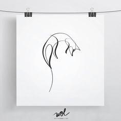 Fox Print, Fox Art, Minimal Fox, Cute Fox Gift, Line Art, Contour Art, Single Line, Line Drawing, Fox Gift Ideas, One Line, Woodland Fox by WithOneLine on Etsy