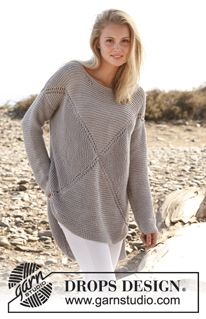 """Hugs and kisses - Knitted DROPS jumper worked in a square in garter st in """"Paris"""". Size: S - XXXL. - Free pattern by DROPS Design"""