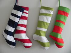 Christmas Stockings - FOUR SEUSS Christmas Stockings - Striped - Pick Your Colors - Inspired by Dr Seuss. $160.00, via Etsy.