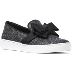 Michael Kors Val Glitter Bow Slip On Sneakers ($295) ❤ liked on Polyvore featuring shoes, sneakers, black, flat shoes, black bow flats, michael kors sneakers, black glitter sneakers and michael michael kors shoes