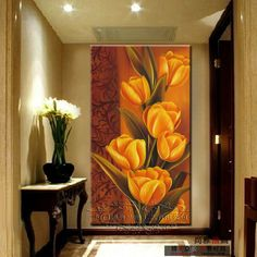 Modern entrance decorative painting modern mural tulip oil paintings wall multi color for choice Wood Wall Art, Wall Art Decor, Rajasthani Art, Acrylic Painting Flowers, Paint Designs, Art Pictures, Photos, Flower Art, Cool Art
