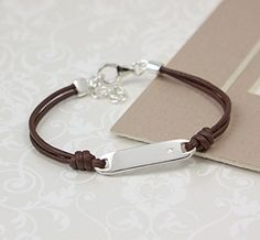Boys Diamond Leather Id Bracelet A Very Handsome For Young