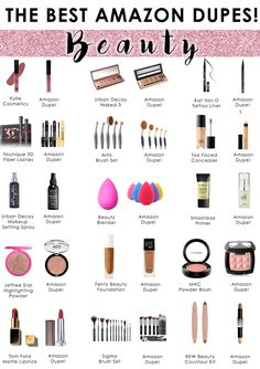 The best Amazon dupes! The direct links are below the image! Don't have Amazon Prime? No problem! Get FREE shipping on most of these items with a FREE 30 day trial of Amazon Prime! Click HERE! DIRECT LINKS BELOW! Kylie Cosmetics DupeUrban Decay Naked 3 DupeKat Von D DupeYounique DupeArtis Brush Set DupeToo Faced Concealer DupeUrban Decay Setting Spray DupeBeauty Blender DupeSmashbox Primer DupeJeffree Star DupeFenty Beauty DupeMAC Blush DupeTom Ford DupeSigma Brushes DupeKKW Beauty Contou...