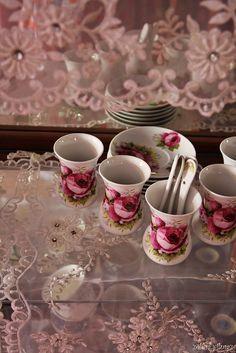 lace with porcelain tea glasses
