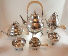 6 PC Sterling Silver Coffee Tea Set Georg Jensen Designed Blossom Pattern | eBay