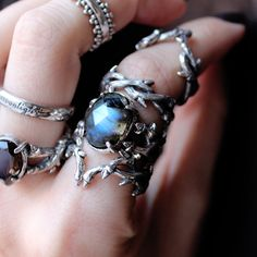 Creepin it real on a Thursday night!  Shop Omen & Sweetest Sacrifice now at www.shopdixi.com // gothic // labradorite // rings // thorn rings // grunge // boho // bohemian //witchy