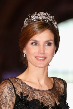 Princess Letizia of Spain wearing the Spanish Floral Diadem.
