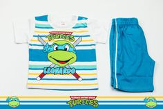 Set of T-shirt and shorts with Leonardo Ninja Turtle print. Will keep your baby boy the happiest. The material is 100% cotton and the color after washing stays the same. But most important is that these T-shirt and shorts are easy to wear and easy to pay.