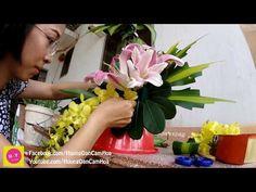 Cắm hoa bàn thờ tập 55| Lẳng Lily và Lan Vàng 2 tầng | HOA TẾT - YouTube