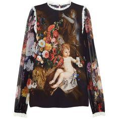Dolce & Gabbana Printed silk-chiffon blouse ($657) ❤ liked on Polyvore