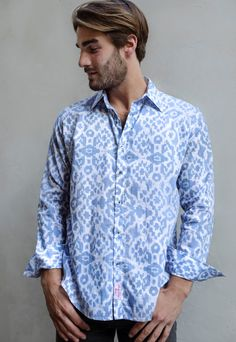 Sky blue Ikat men's shirt with long sleeves. | Shoop Doop London | ASOS Marketplace