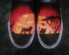 HAND PAINTED Lion King inspired canvas shoes - made to order in your size! Estilo Converse, Hand Painted Shoes, Painted Vans, Disney Painted Shoes, Tenis Vans, Cheap Toms Shoes, Disney Shoes, Disney Outfits, Kinds Of Shoes