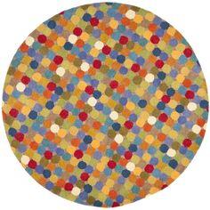Safavieh Handmade Soho Multicolored Wool Area Rug (8' Round) (SOH922A-8R), Multi (Cotton, Dots)