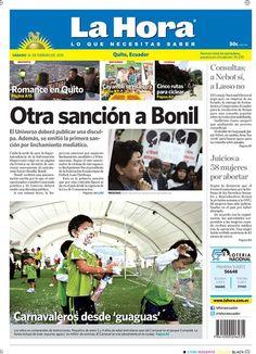 Los temas destacados son: Otra sanción a Bonil, Carnavaleros desde 'guaguas', Romance en Quito, Cayambe se muestra, Cinco rutas para ciclear, Consultas: A Nebot sí, a Lasso no y Juicios a 58 mujeres por abortar