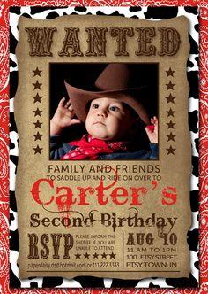 Cowboy Birthday Invitation Printable by PaperDaisybyDiana on Etsy, $10.00