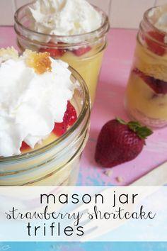 mason jar strawberry shortcake trifles